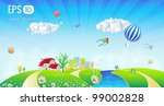 beautiful spring landscape  ... | Shutterstock .eps vector #99002828