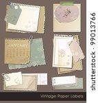 vintage old paper card set.... | Shutterstock .eps vector #99013766