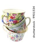 Three Antique China Cups On A...