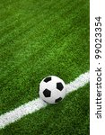 soccer ball on field with... | Shutterstock . vector #99023354