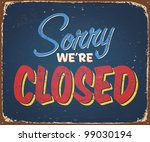 vintage tin sign   closed  ... | Shutterstock . vector #99030194