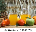 variety of fruit and juice on a ... | Shutterstock . vector #99031253