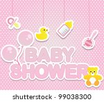 Stock vector baby shower card for girl 99038300