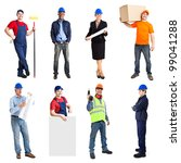 Full length portrait of many workers - stock photo