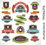 Stock vector vintage labels and ribbon retro style set vector design elements 99066296