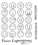 set of doodled cartoon faces in ... | Shutterstock .eps vector #99072599