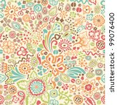 vector pattern with floral... | Shutterstock .eps vector #99076400