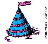 party cap decorated with ribbon ... | Shutterstock .eps vector #99091421