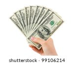 Hand With Money Isolated On...