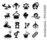 Amusement Park Icons Set...