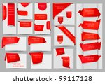 big collection of red origami... | Shutterstock .eps vector #99117128