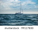 A Yacht In A Stormy Sea. A Boa...