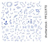 vector hand drawn arrows set... | Shutterstock .eps vector #99121970