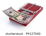 Mousetrap with money - stock photo