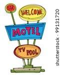 motel sign   cartoon | Shutterstock .eps vector #99131720