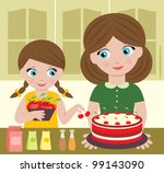 mother with the daughter... | Shutterstock .eps vector #99143090