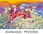 the crab carved with a plaster... | Shutterstock . vector #99153506
