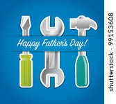 """Paper cut out """"Happy Father's Day"""" tool card in vector format. - stock vector"""