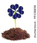 Solar energy panels from clover leaves. Environmental protection concept. - stock photo