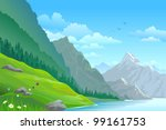 high mountain and river in... | Shutterstock .eps vector #99161753