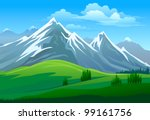 amazing glaciers on mountain... | Shutterstock .eps vector #99161756