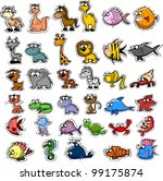 big set of cartoon animals and... | Shutterstock .eps vector #99175874