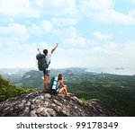 young tourists with backpacks... | Shutterstock . vector #99178349