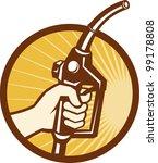 hand holding gas fuel pump... | Shutterstock .eps vector #99178808