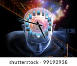 Collage of human head, clock, mobile devices and various abstract elements on the subject of time, mobile technologies, human and artificial minds - stock photo