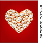 heart of gems on the red... | Shutterstock .eps vector #99193868
