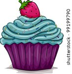 Illustration Of A Cupcake With...