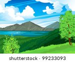 Summer landscape with volcano Batur, green forest and blue lake on a cloudy sky. Indonesia, Bali.