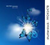 Blue Butterflies Flying Agains...