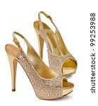 gold women's shoes isolated on... | Shutterstock . vector #99253988