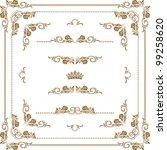 vector set of gold decorative... | Shutterstock .eps vector #99258620