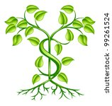 A tree or plant with strong roots growing the shape of dollar sign. Conceptual illustration for sound financial planning, green shoots of economic recovery, earning interest or other monetary growth. - stock vector