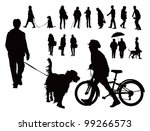 Stock vector over fifteen black vector silhouettes people walking with dogs alone and with bicycle spring 99266573