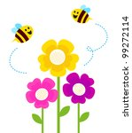 Cute Bees Flying Around Spring...