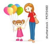 illustration of 3d mother and... | Shutterstock .eps vector #99293480