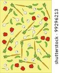 vector carrots cucumber garlic... | Shutterstock . vector #99296213