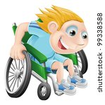 Cartoon illustration of a happy boy racing in his wheelchair - stock photo