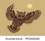 flying owl bird. vector version | Shutterstock .eps vector #99340340