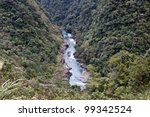 scenery showing of stream running through mountains seen from above in Taiwan