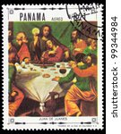 """PANAMA - CIRCA 1968: A stamp printed in Panama shows a picture of a religious theme, painting created by renaissance artist Juan de Juanes  from the series """"Religious paintings"""", circa 1968 - stock photo"""