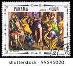 """PANAMA - CIRCA 1968: A stamp printed in Panama shows a picture of a religious theme, painting created by renaissance artist El Greco from the series """"Religious paintings"""", circa 1968 - stock photo"""