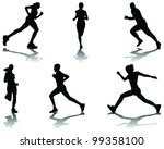 running silhouettes with... | Shutterstock .eps vector #99358100