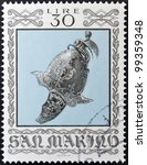 Small photo of SAN MARINO - CIRCA 1974: A stamp printed in San Marino dedicated to Ancient Weapons from Cesta Museum, shows Italian Morion with Crest, circa 1974