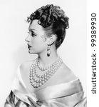 Profile of an elegant woman - stock photo