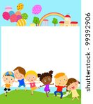 kids and frame | Shutterstock .eps vector #99392906