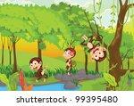 illustration of 3 cheeky monkeys   Shutterstock .eps vector #99395480